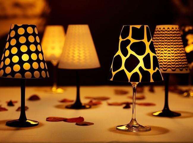 Recicladecoración: pequeñas lámparas hechas con copas devino