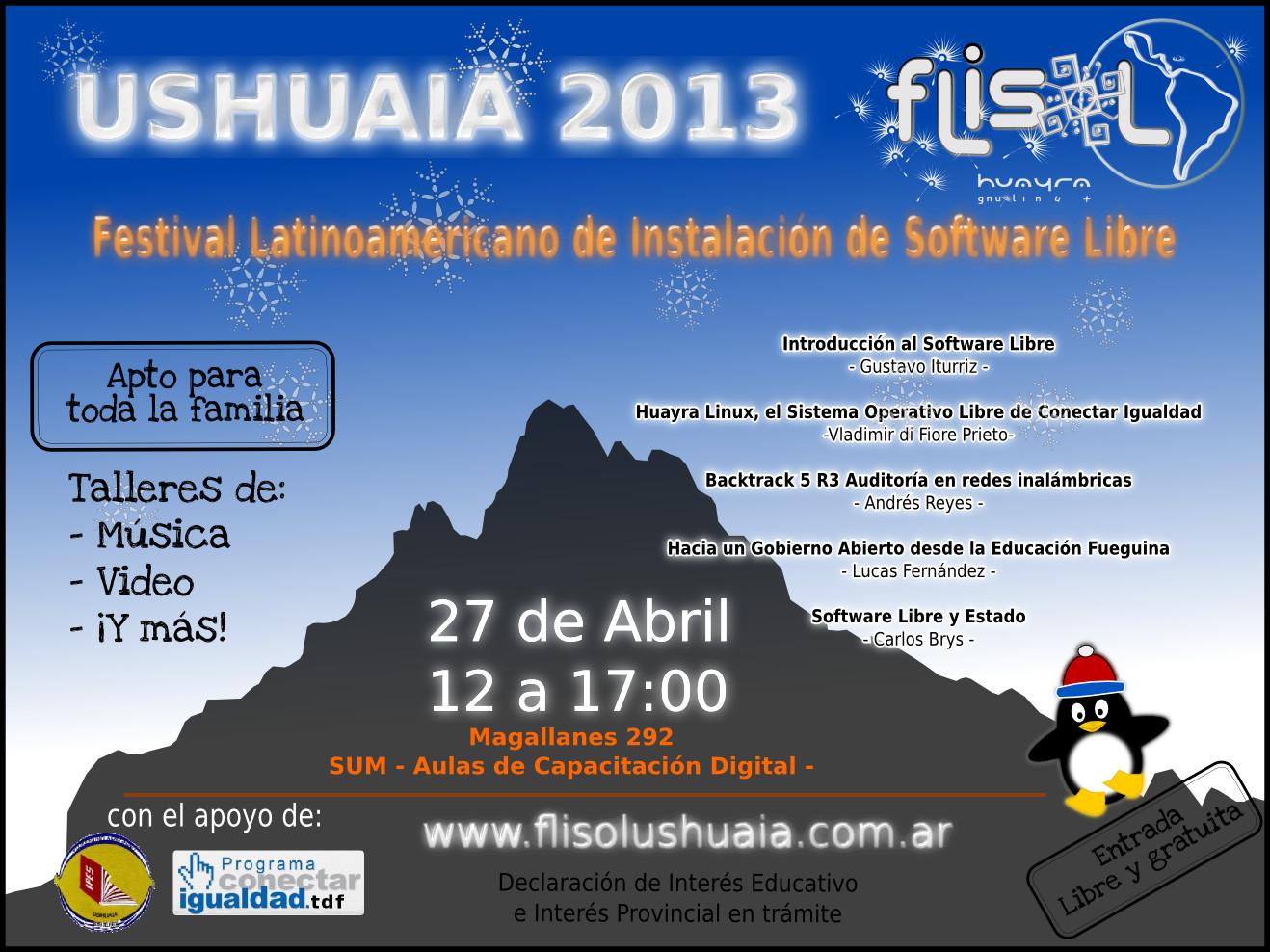 ¡No te olvides! ¡Sábado 27/04 el FLISoL más austral del mundo! – 12:00 a 17:00 – Magallanes 292 – Aulas de Capacitación DigitalUshuaia