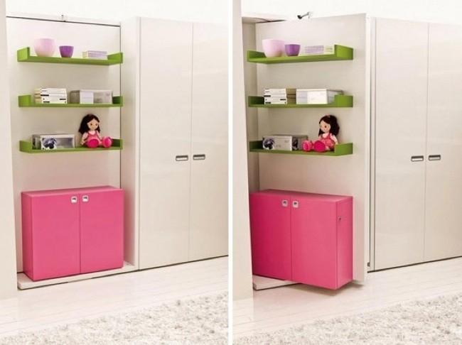 Camas secretas ocultas en muebles con paneles giratorios y - Armarios para espacios pequenos ...