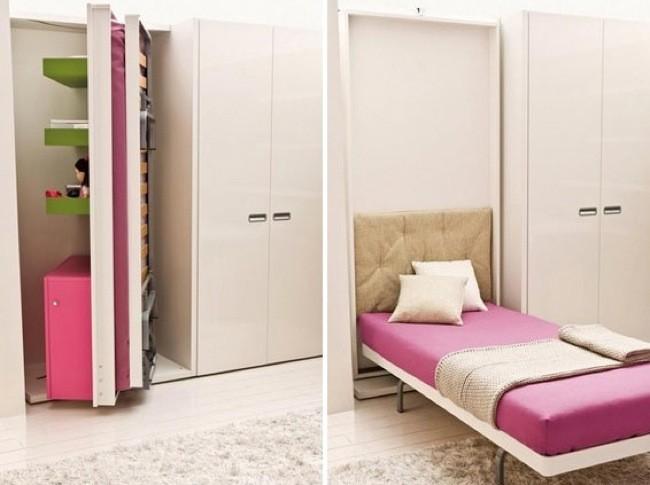 Camas secretas ocultas en muebles con paneles giratorios y for Cama oculta mueble